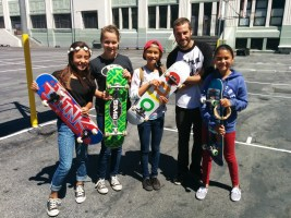 Girls with Skateboard Teacher, Noah McManus