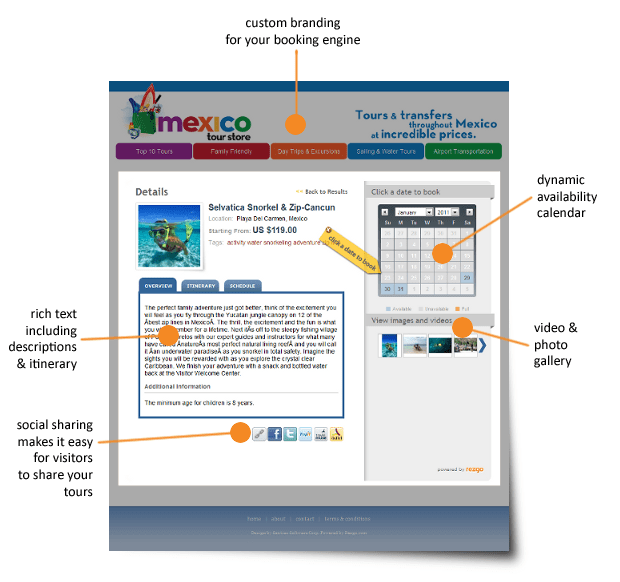 The customizable hosted booking engine on the Rezgo Tour Operator Software
