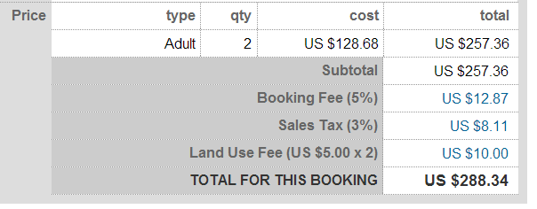 Make it simple for your customers to know what taxes and fees are being paid during the booking
