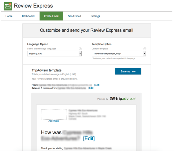 TripAdvisor Review Express Create Template