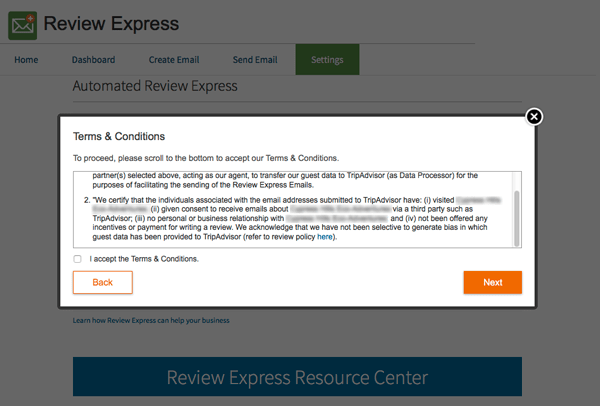 TripAdvisor Review Express Agree to Terms