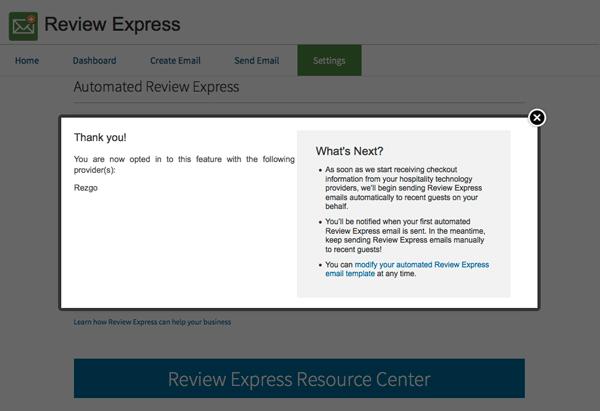 TripAdvisor Review Express Thank you