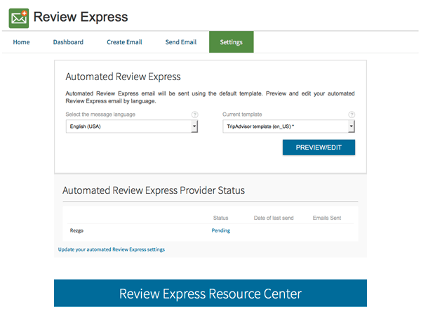 TripAdvisor Review Express Updated Settings