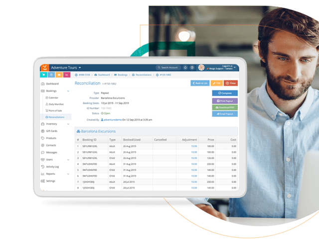Accounting Screen Rezgo