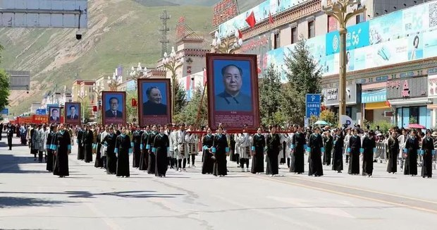 Social media image of parade to mark the 70th anniversary of Qinghai Province's Yulshul (Yushu) Tibetan Autonomous Prefecture.