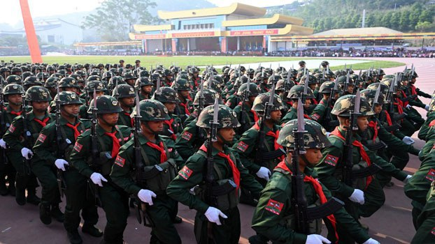 United Wa State Army (UWSA) soldiers participate in a military parade, to commemorate 30 years of a ceasefire signed with the Myanmar military in the Wa State, in Panghsang, April 17, 2019. Credit: Reuters