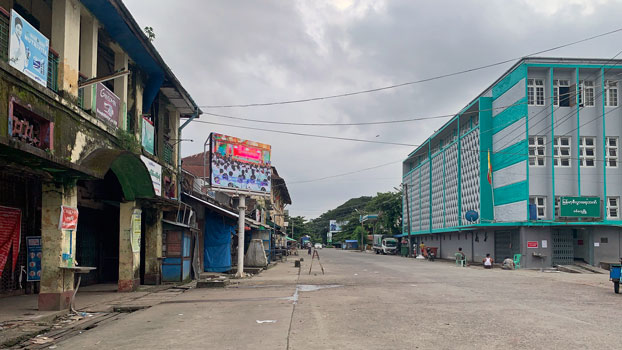 A street is deserted during a lockdown to curb the spread of the coronavirus in Sittwe, capital of western Myanmar's Rakhine state, Aug. 23, 2020.