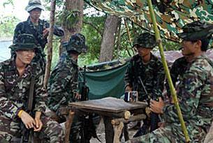 Quân đội Thái Lan đóng quân tại vùng biên giới nơi tranh chấp. AFP