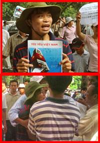"""Anh thanh niên đội mũ tai bèo với cái hình """"Tôi Yêu Việt Nam"""" và cung anh đó bị an ninh bắt"""