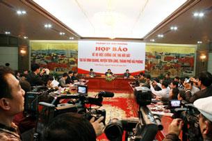 Toàn cảnh buổi họp báo công bố kết quả xử lý cán bộ huyện Tiên Lãng tại TP Hải Phòng. (Ảnh: Q.Đ )