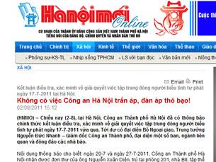Báo Hanoimoi ngày 02 tháng 8, 2011 đăng tin về sự việc anh Nguyễn chí Đức. RFA Screen cap