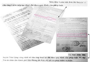 """Biên bản và văn bản trả lời thể hiện """"nếu các hộ dân rút đơn thì huyện sẽ tiếp tục cho thuê đất theo quy định của pháp luật"""". Ảnh: KIM LINH-phapluattp.vn"""