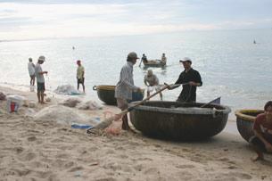 Các thuyền thúng thường dùng để lưới cá và cũng để câu mực, người mua đôi khi chờ ngay tại bãi. RFA, ảnh minh họa