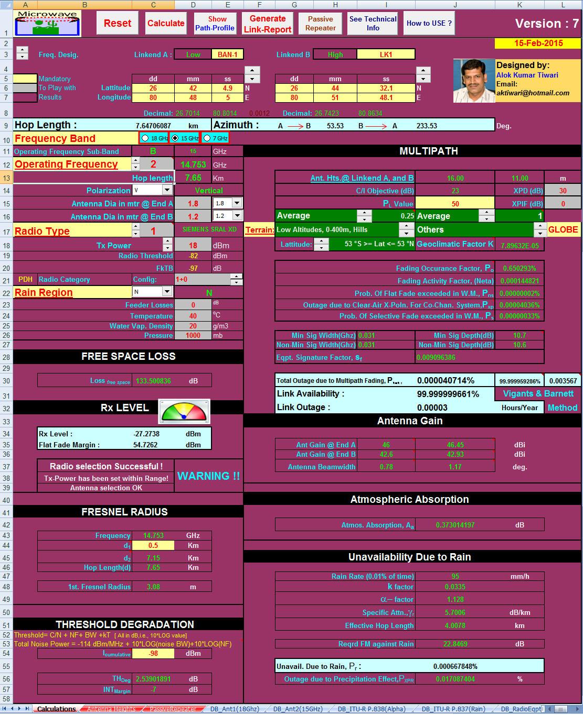 Transmission Link Planning Tool For Excel