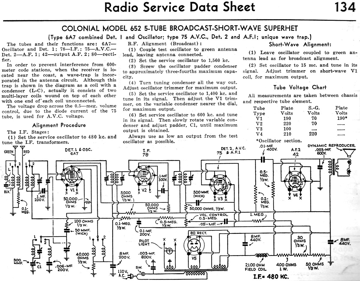 Colonial Model 652 5 Tube Broadcast Short Wave Superhet Radio Service Data Sheet March