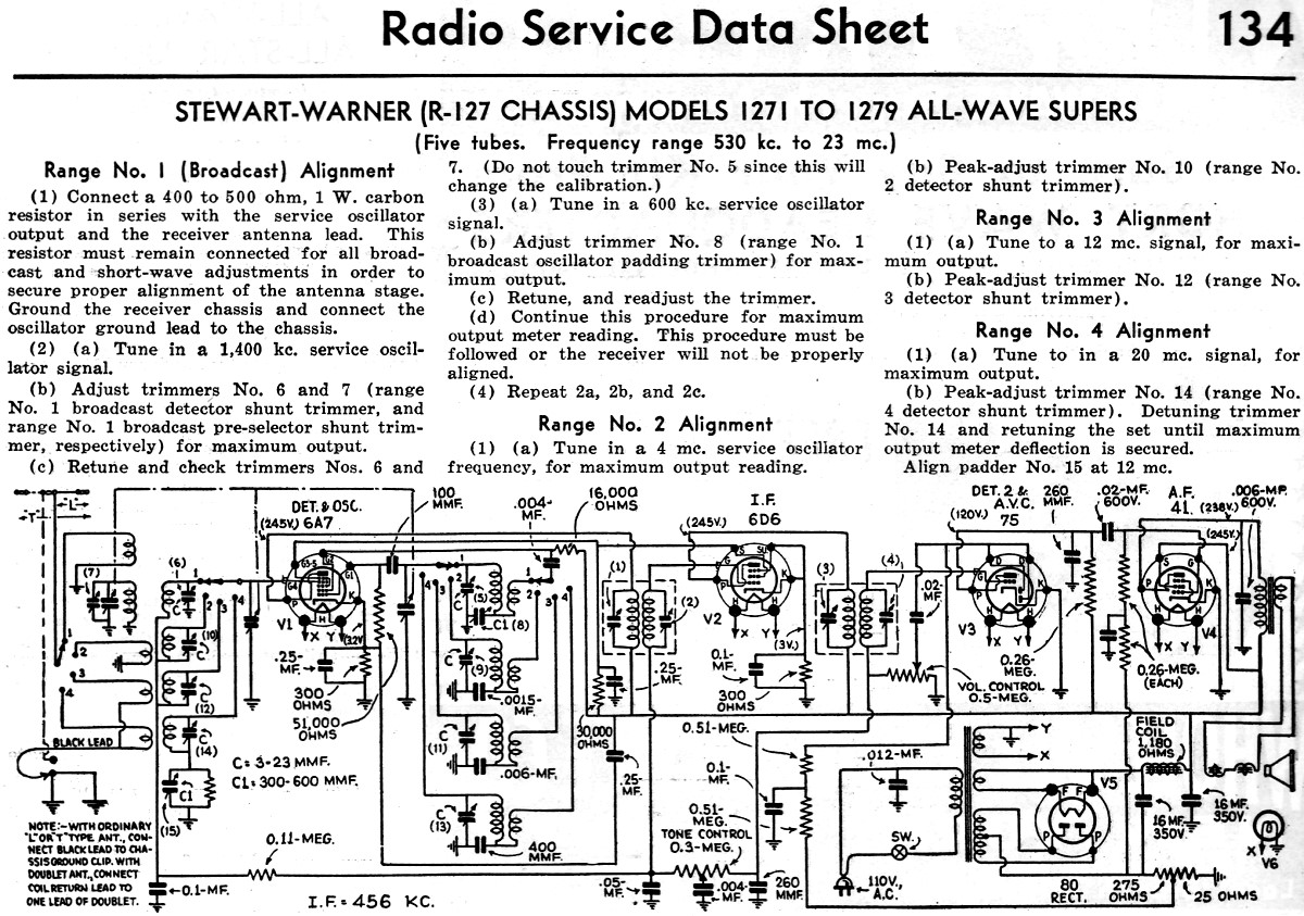 Stewart Warner R 127 Chassis Models To All Wave Supers Radio Service Data Sheet