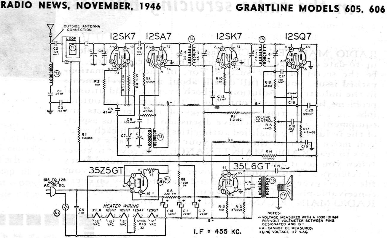 Grantline Models 605 606 November Radio News