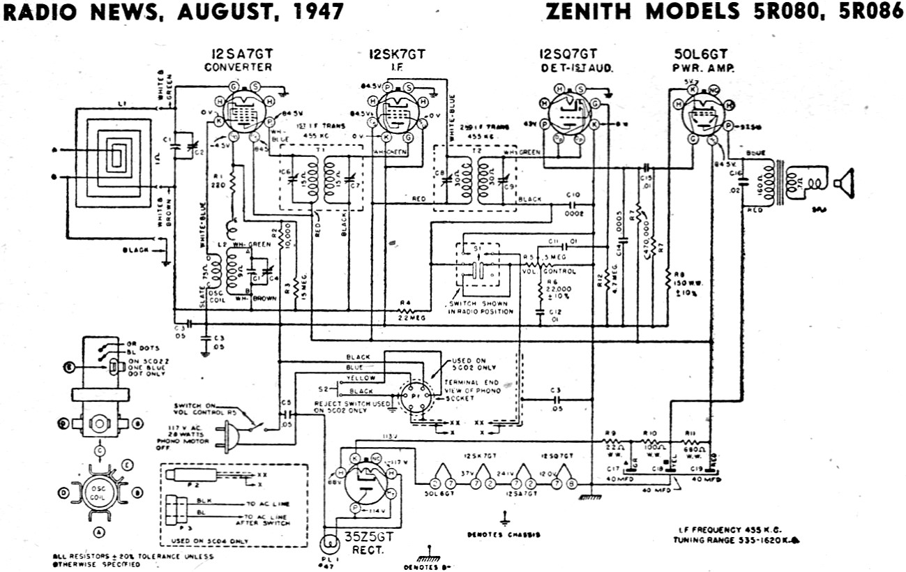 Zenith Models 5r080 5r086 Schematic Amp Parts List August Radio News