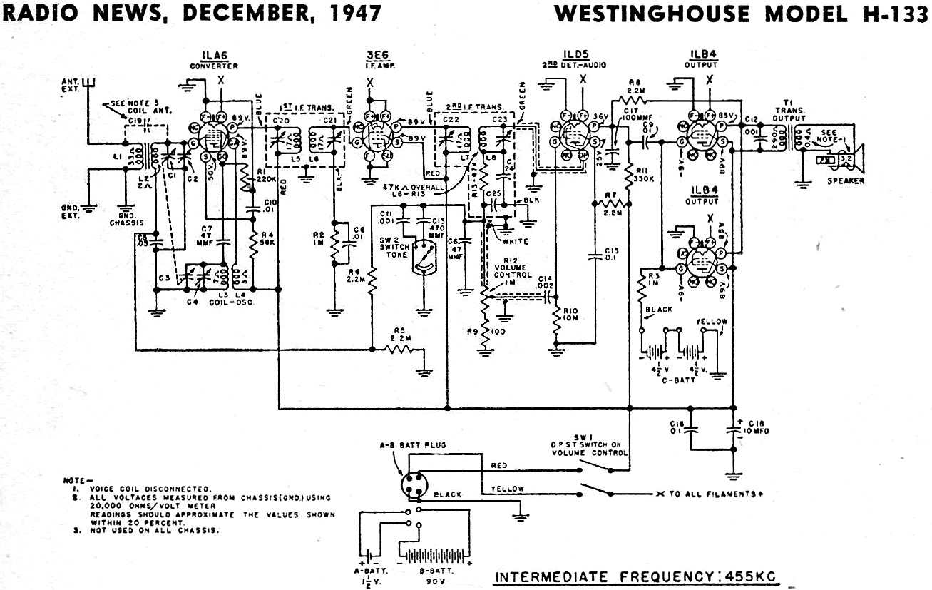 Westinghouse Model H 133 Schematic Amp Parts List December
