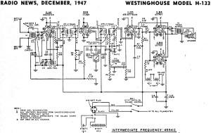 Westinghouse Model H133 Schematic & Parts List, December