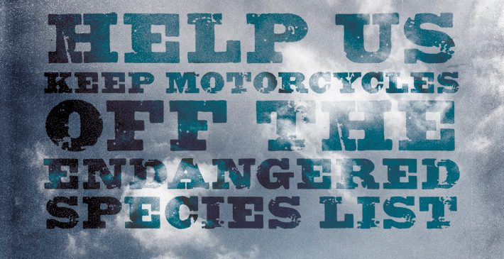 Help us keep Motorcycles off the endangered list - text in clouds