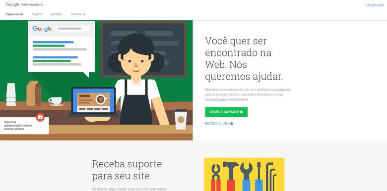 Como anunciar no Google Gratuitamente – Tela Inicial – Google Webmasters