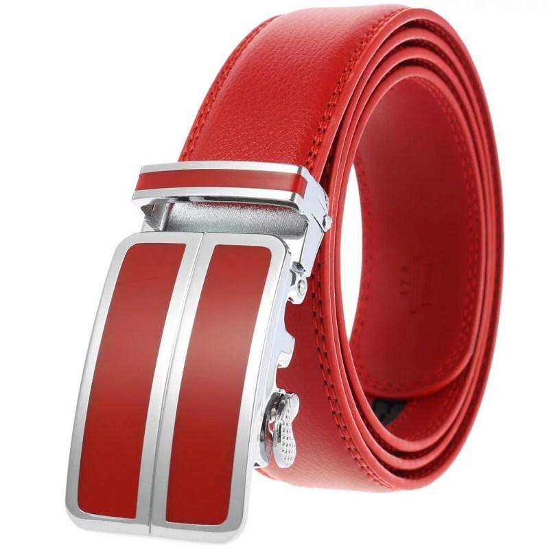 Herrengürtel Herren Gürtel mit automatik Gürtelschnalle Rot