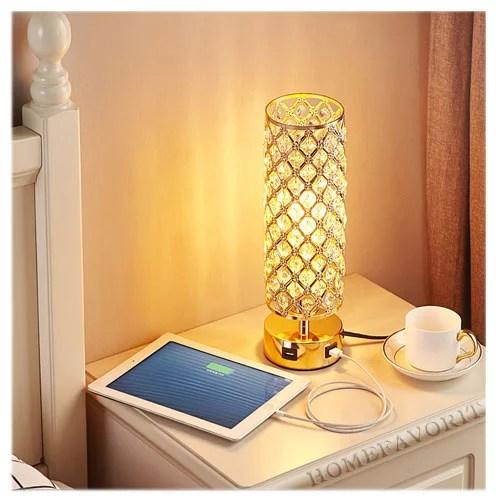 Tischlampe Tischleuchte Kristall mit USB-Anschluss