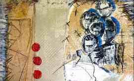 Bernard Bieling, BITING THE BULLET1994, Mixed Media auf Leinwand, 35×52,5cm