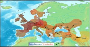 RH- Blood Type - Where do we come from? R1b-migration-map