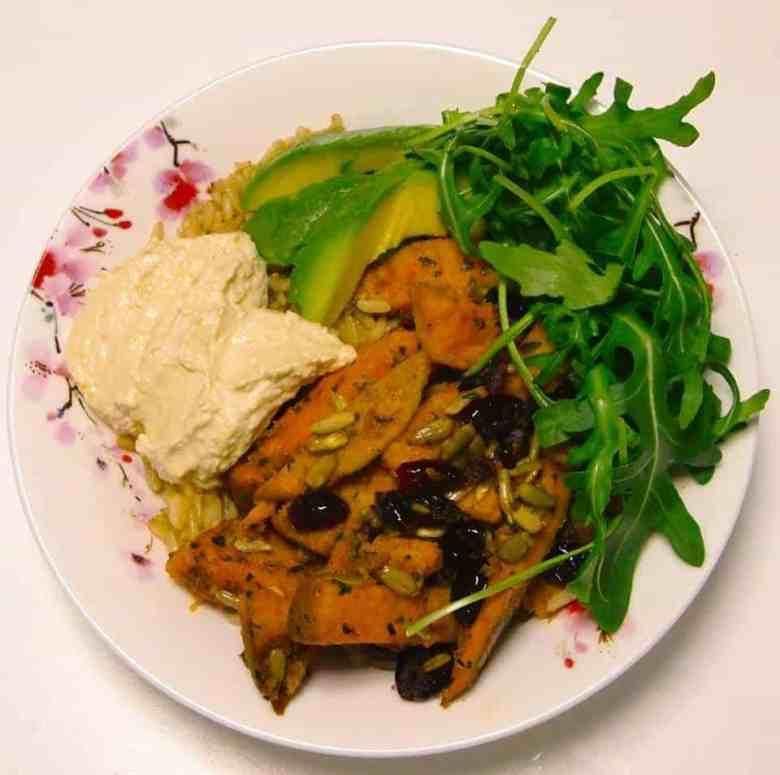 Spiced Sweet Potato & Hummus Buddha Bowl
