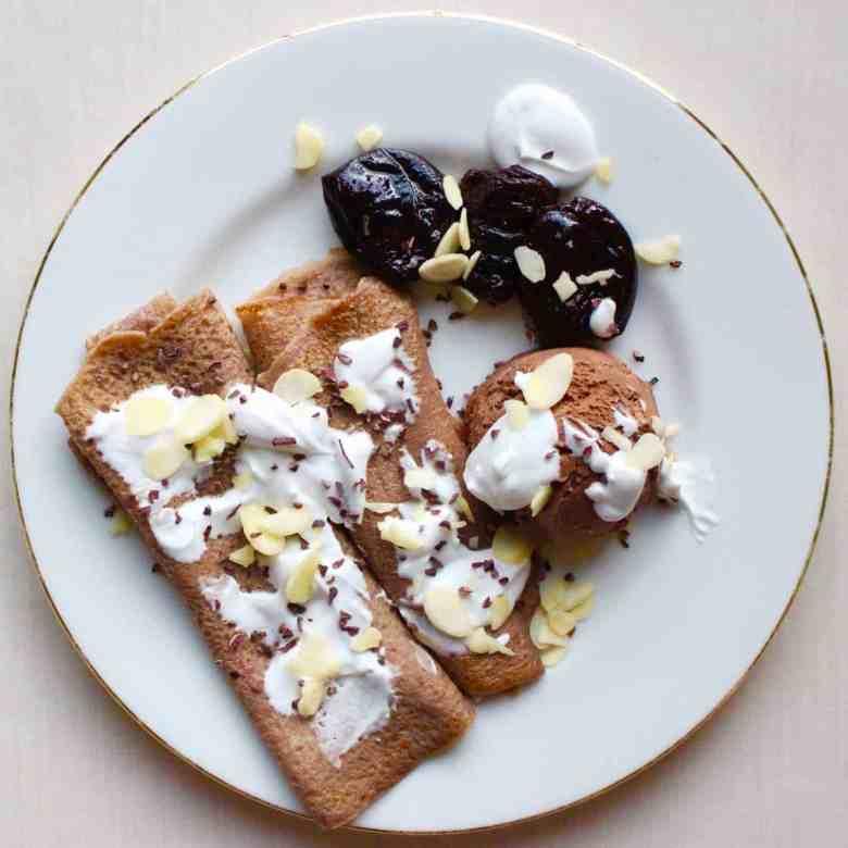 Amaretto Prune Chocolate Pancakes