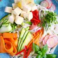 Rice noodles, cubed tofu and raw vegetables on a blue plate against a black background