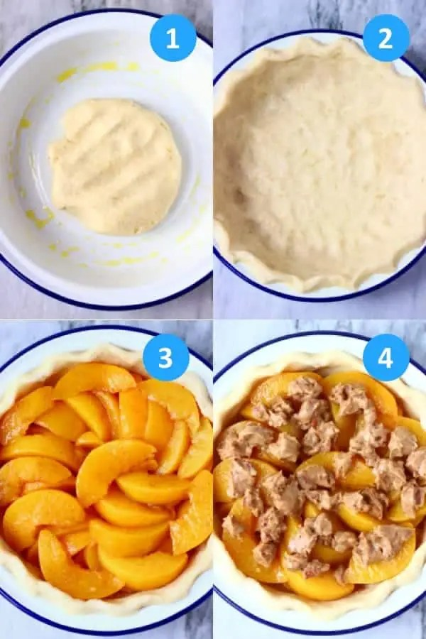 Collage of process shots showing how to make a peach pie with streusel topping