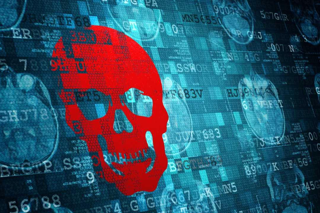 cybersecurity threats skull on computer code