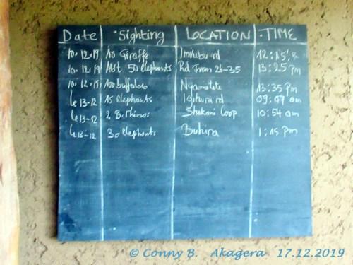 Akagera Tafel mit Sichtungen