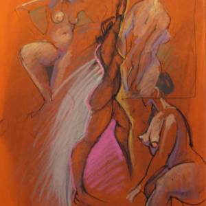 Four Nudes On Orange Paper