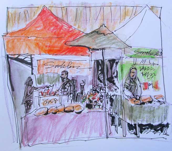 Colorful Market Sketching