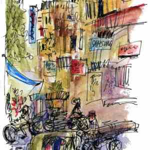 India Sketches: Delhi Street Corner