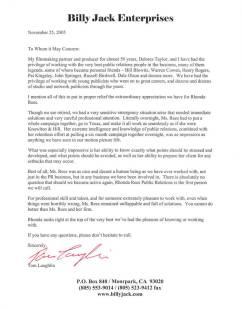 Billy Jack Endorsement Letter