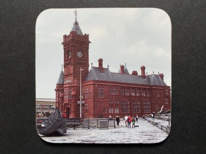 Cardiff Bay View on a photographic hardboard coaster. Square hardboard coaster with rounded edges. Size: 90x90x3 mm Weight 0.1kg