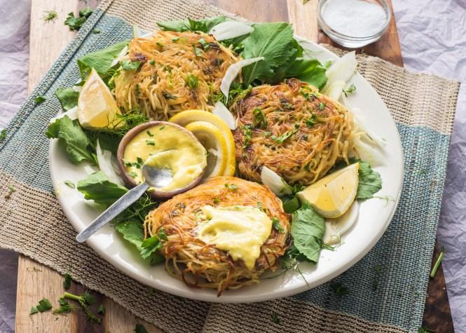 Angel Hair Crab Cakes with Saffron Aioli