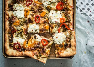 Sicilian-Style Pizza with Roasted Brussel Sprouts & Banana Peppers