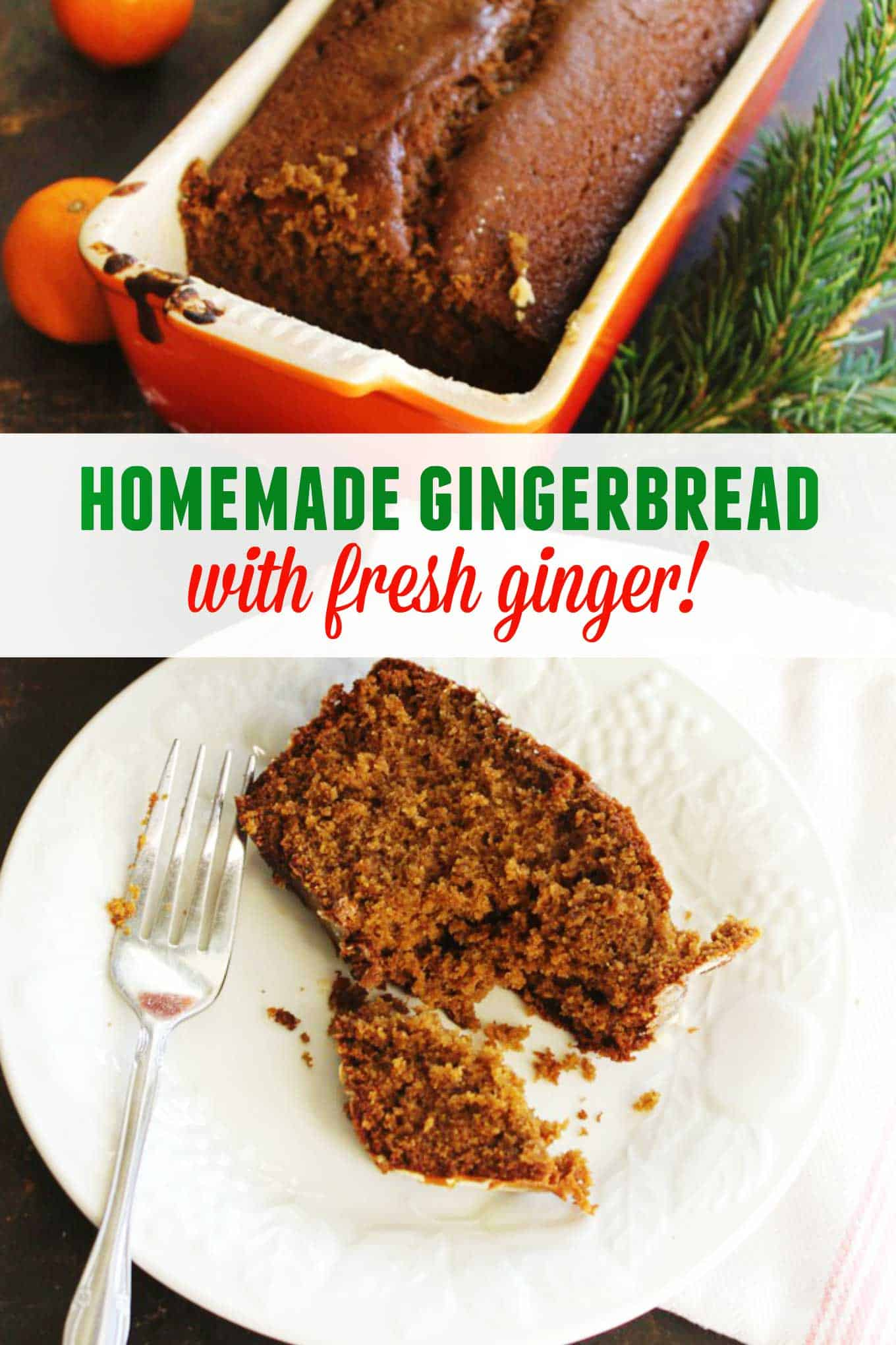 Homemade gingerbread with fresh ginger recipe! This classic, spiced gingerbread is perfect for holiday or Christmas baking. // Rhubarbarians //