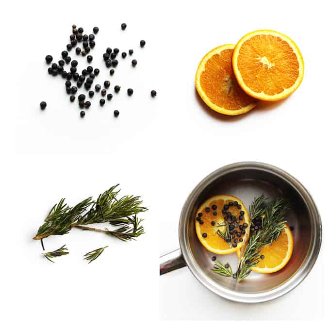 Orange juniper rosemary pot simmer