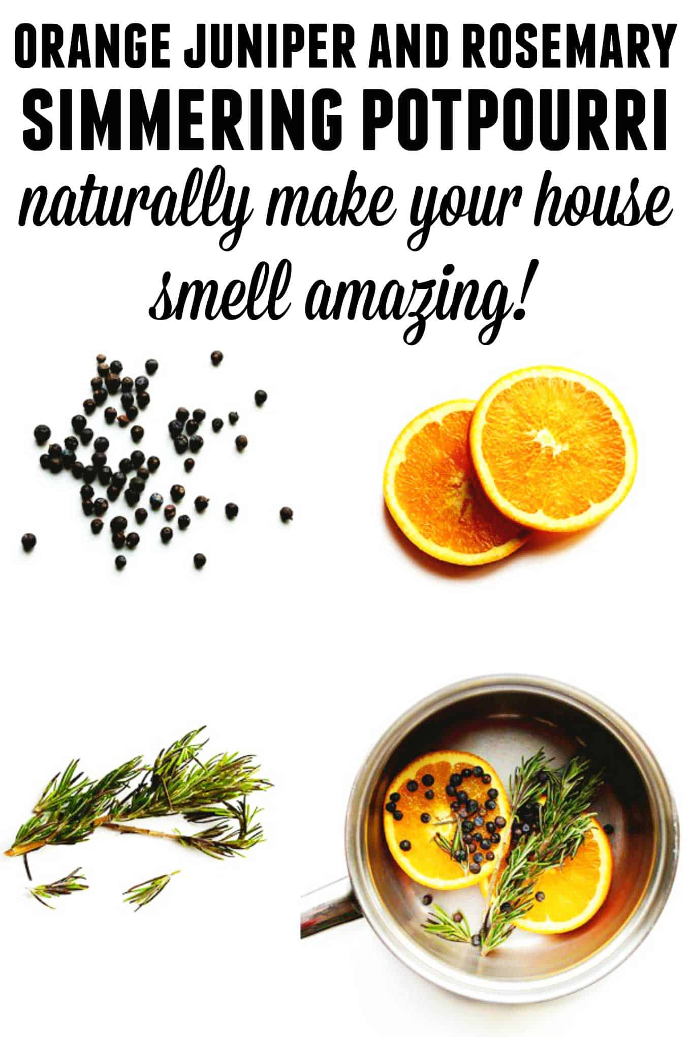 Orange Juniper Rosemary pot simmer recipe! All natural simmering potpourri that will make your house smell fresh and amazing all day long. // Rhubarbarians // holiday potpourri / holiday pot simmer / holiday home / #potsimmer #potpourri #holidayhome #simmeringpotpourri #rhubarbarians