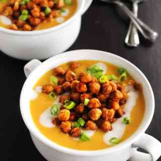 butternut squash soup with chickpeas and 2 spoons