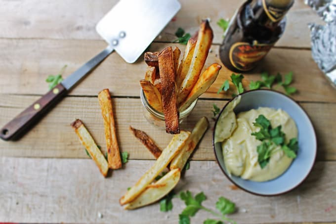 Beer marinated fries with thyme mayonnaise