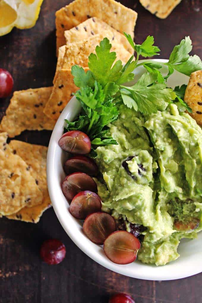 Feta and grape guacamole