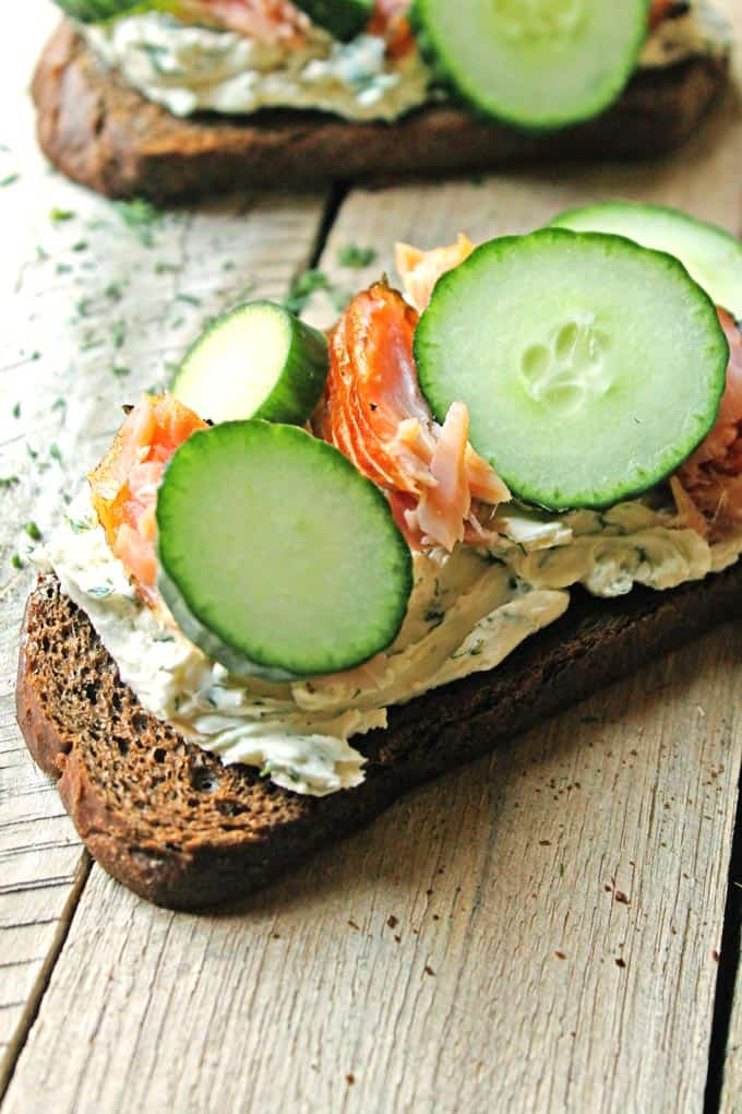 Smoked salmon smorrebrod with cucumber and dill cream cheese